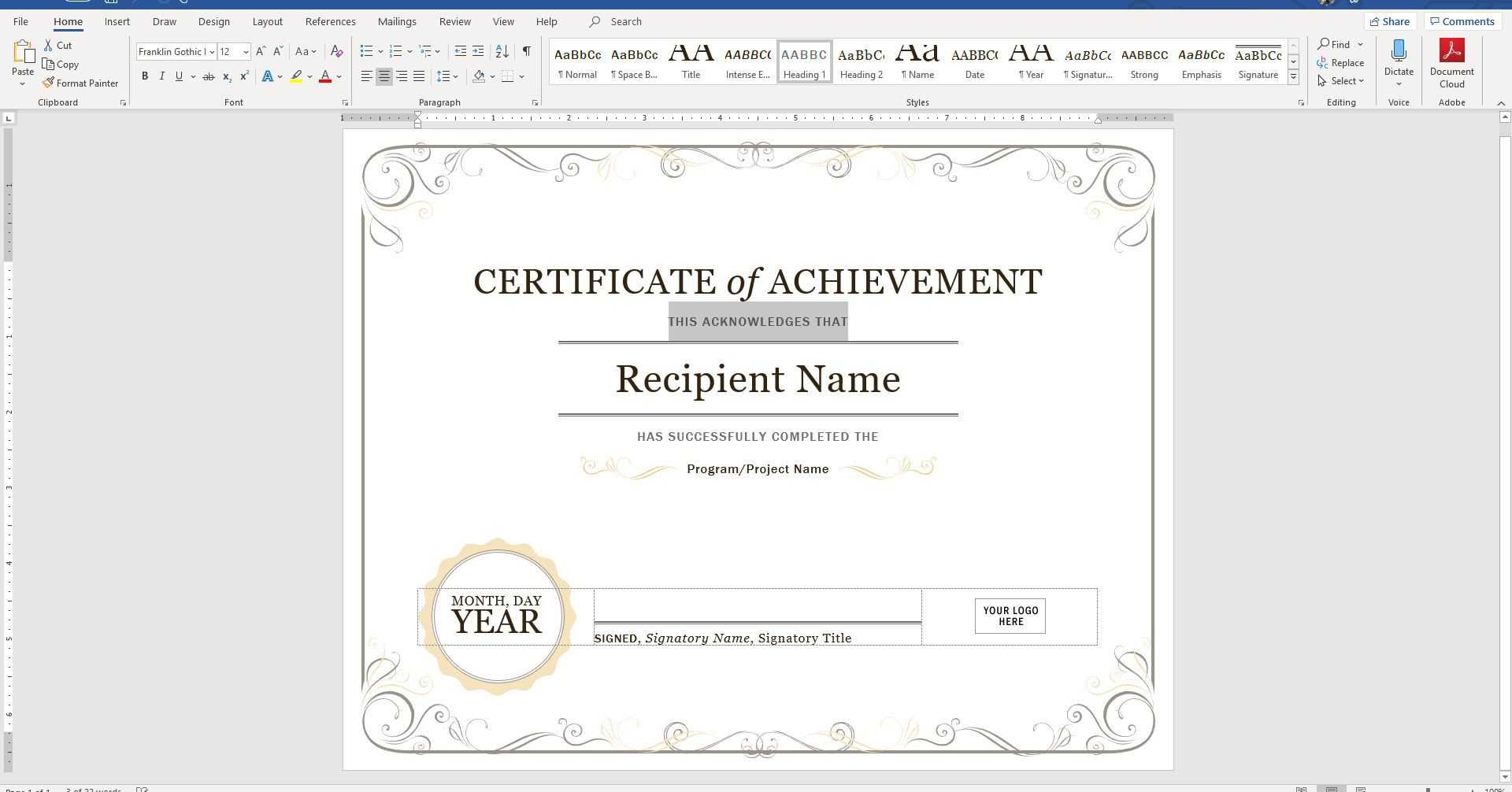 Create A Certificate Of Recognition In Microsoft Word Within Certificate Of Recognition Word Template