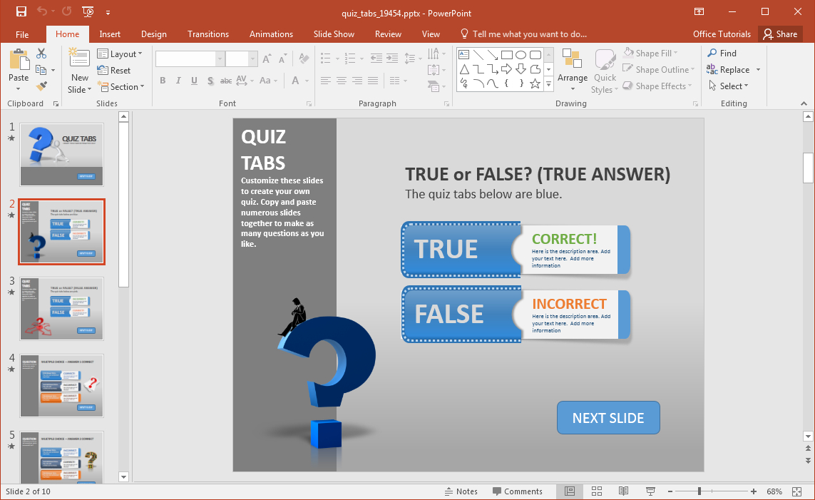 Create A Quiz In Powerpoint With Quiz Tabs Powerpoint Template With Powerpoint Quiz Template Free Download