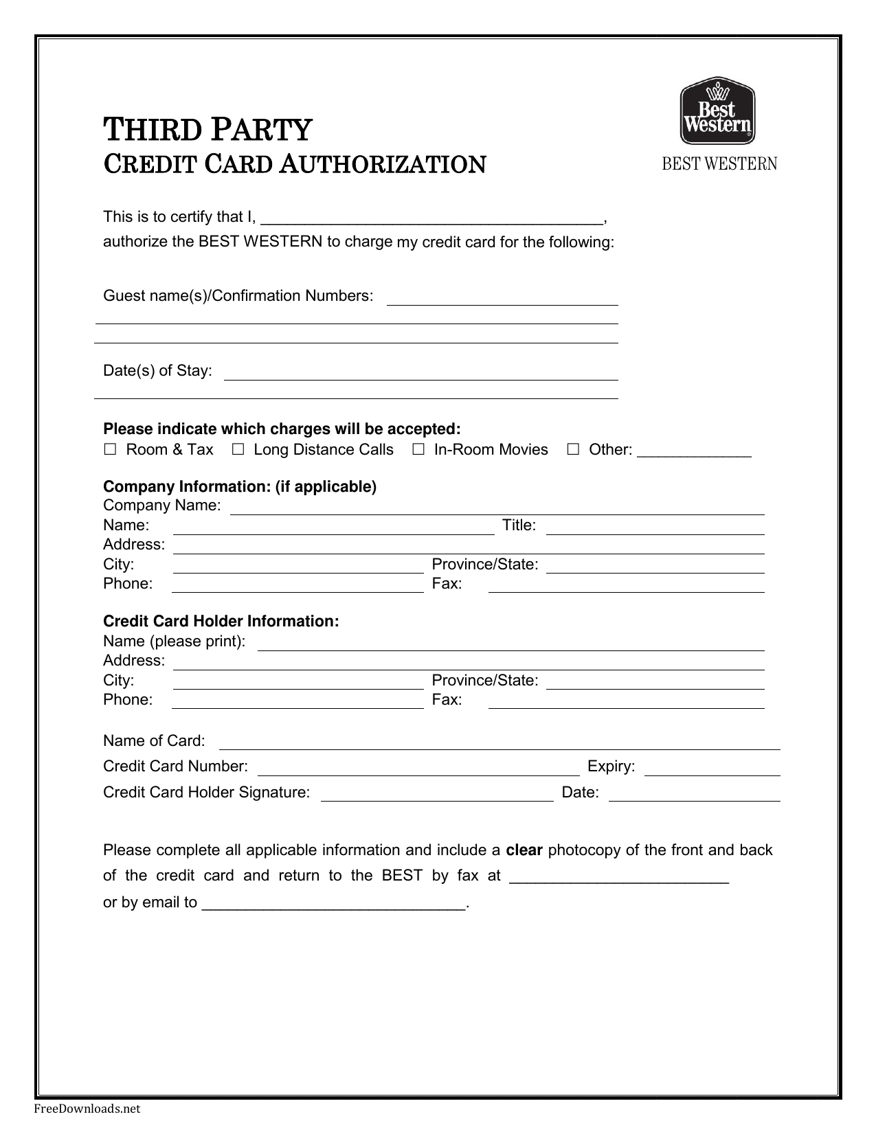 Credit Card Authorization Form Template Pdf - Colona.rsd7 Pertaining To Hotel Credit Card Authorization Form Template