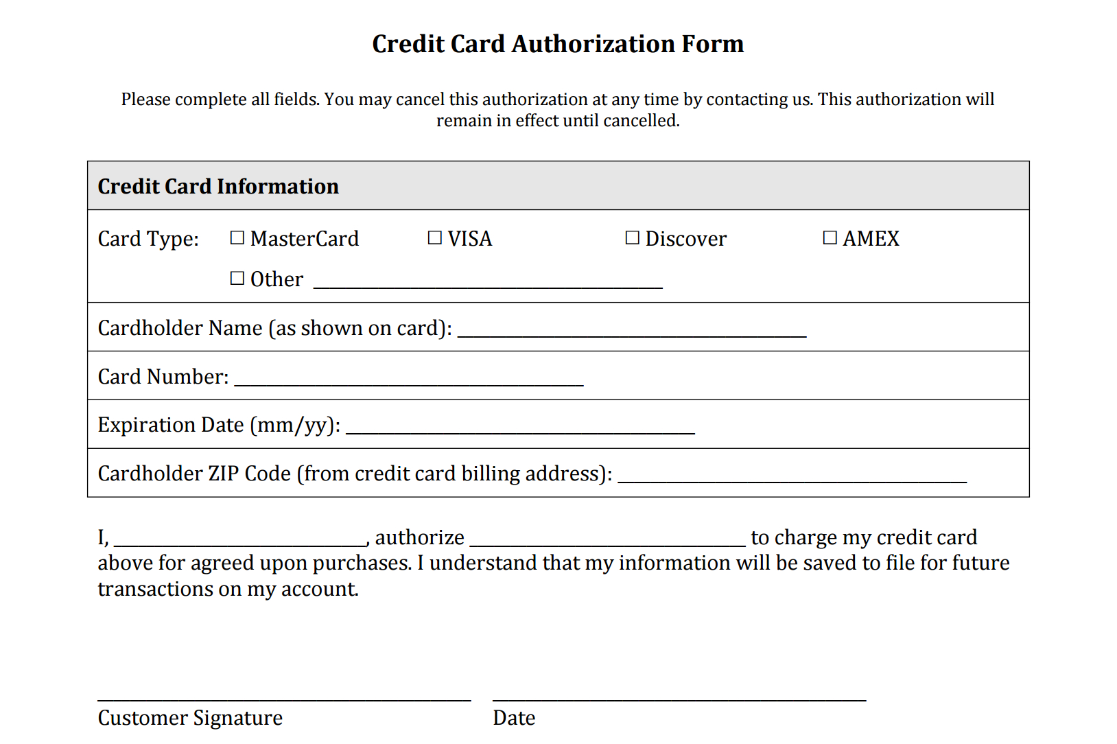 Credit Card Authorization Form Templates [Download] Inside Authorization To Charge Credit Card Template