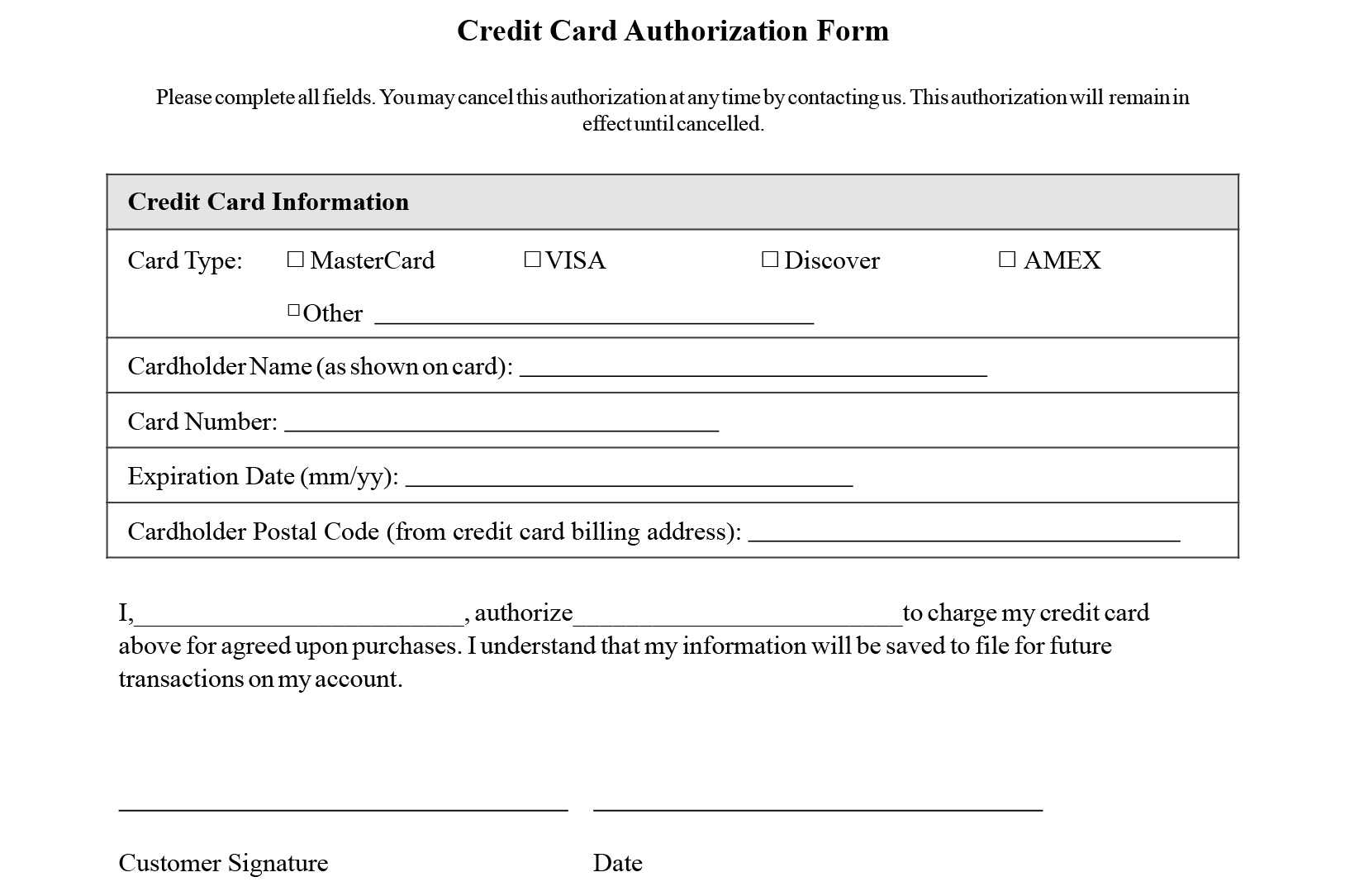 Credit Card Authorization Form Templates [Download] With Authorization To Charge Credit Card Template