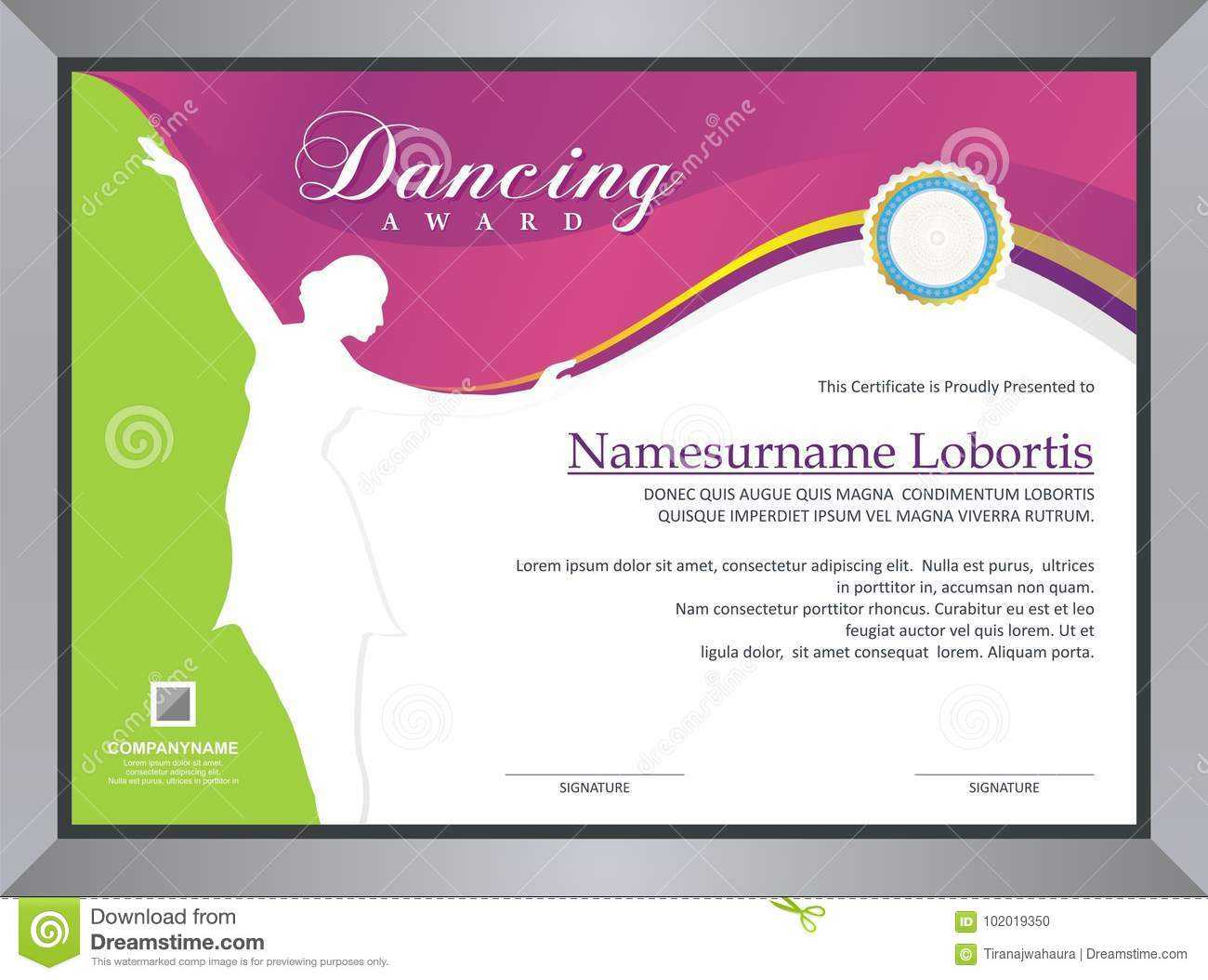 Dancing Award Stock Vector. Illustration Of Competition With Dance Certificate Template
