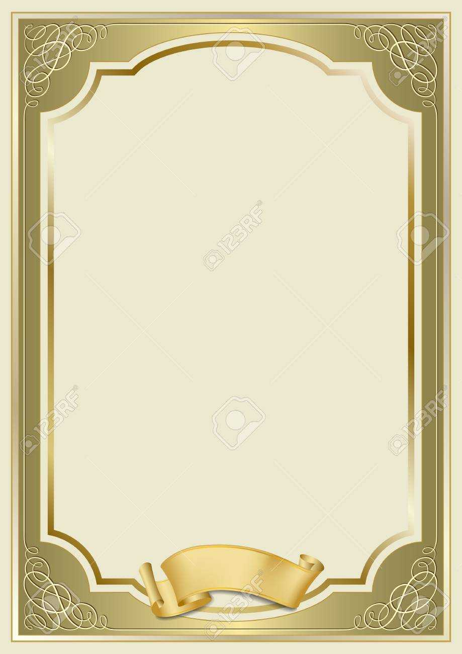 Decorative Rectangular Framework And A Scroll. Template For Diploma,.. Within Certificate Scroll Template