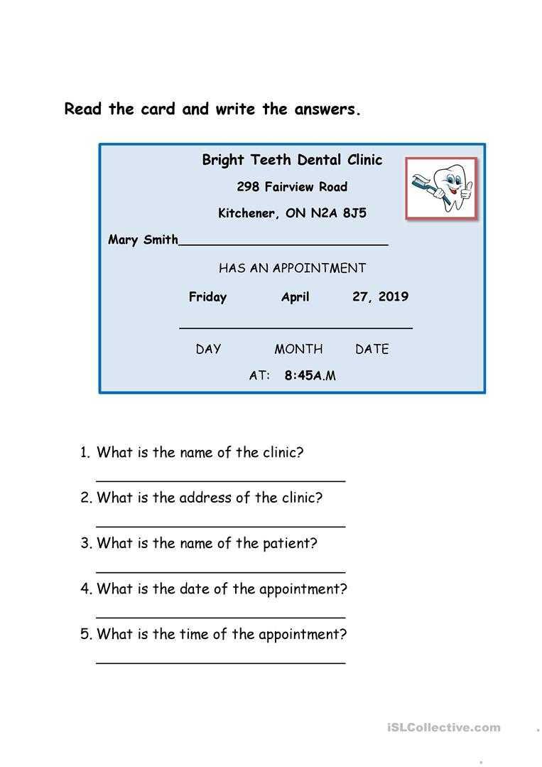 Dentist Appointment Card - English Esl Worksheets Regarding Dentist Appointment Card Template
