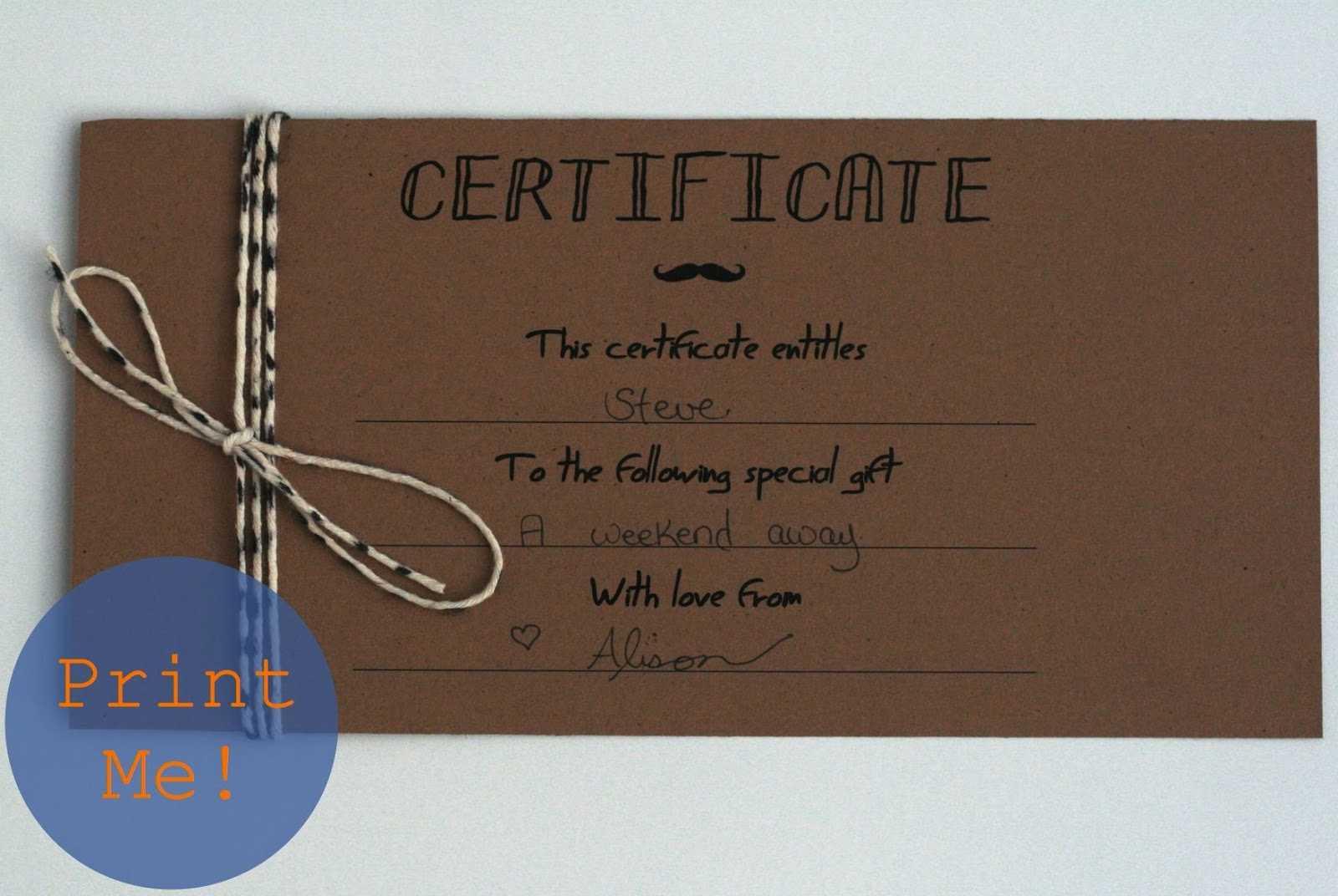 Diy Certificates – Colona.rsd7 Regarding Homemade Gift Certificate Template