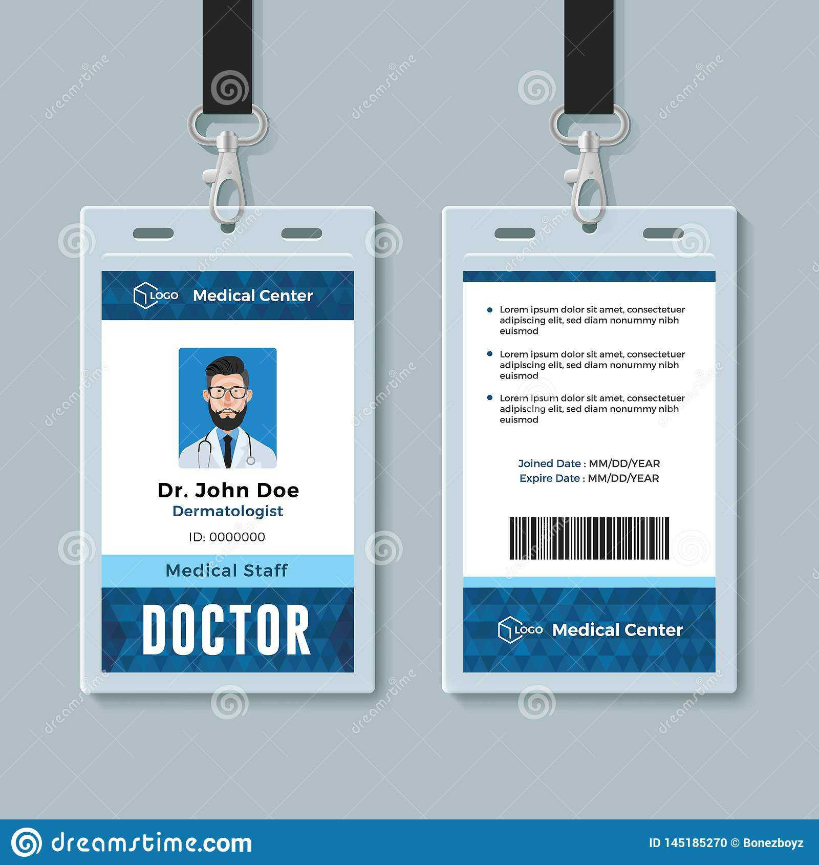 Doctor Id Card. Medical Identity Badge Design Template Stock Within Doctor Id Card Template
