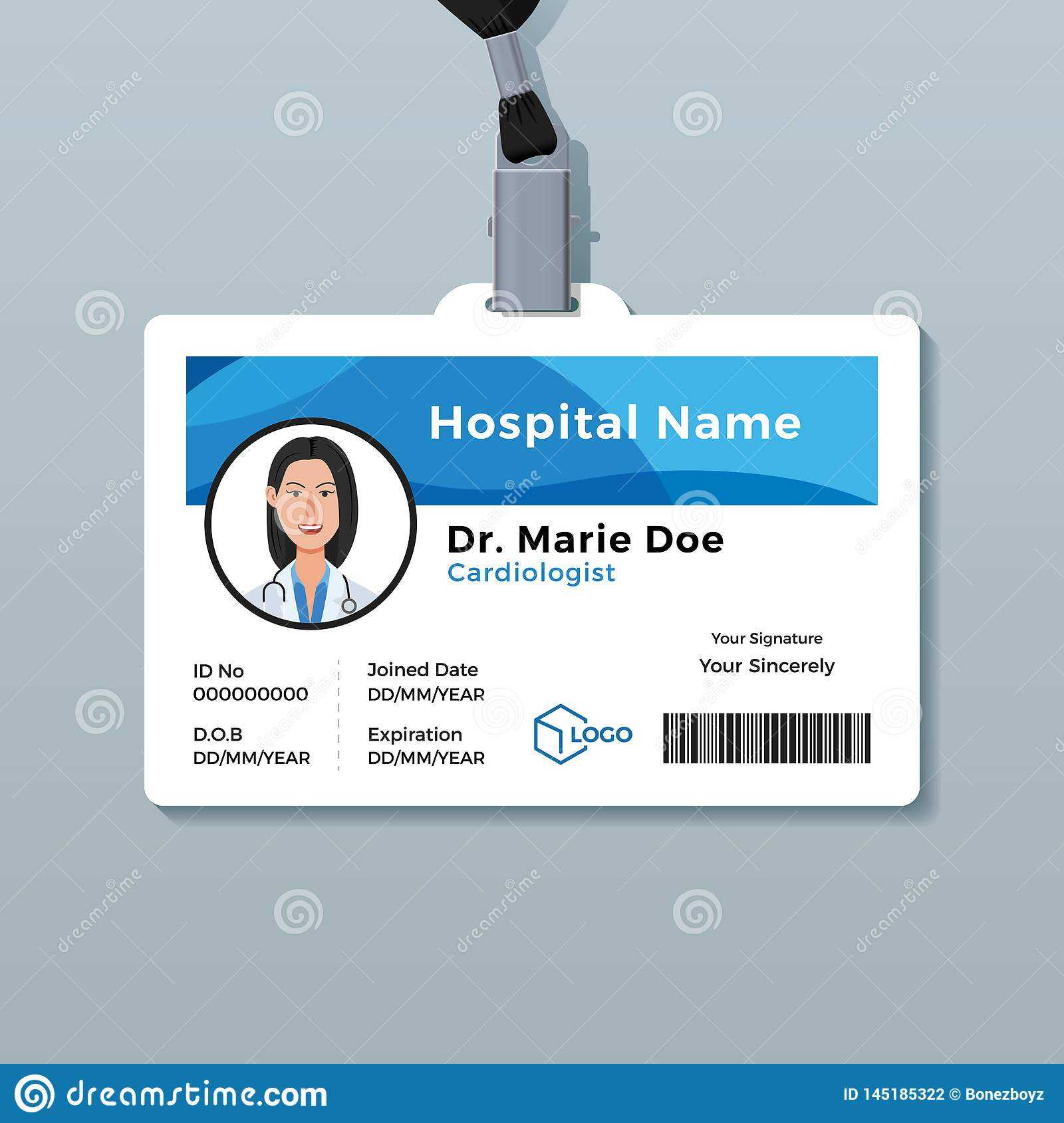 Doctor Id Card. Medical Identity Badge Template Stock Vector Throughout Doctor Id Card Template