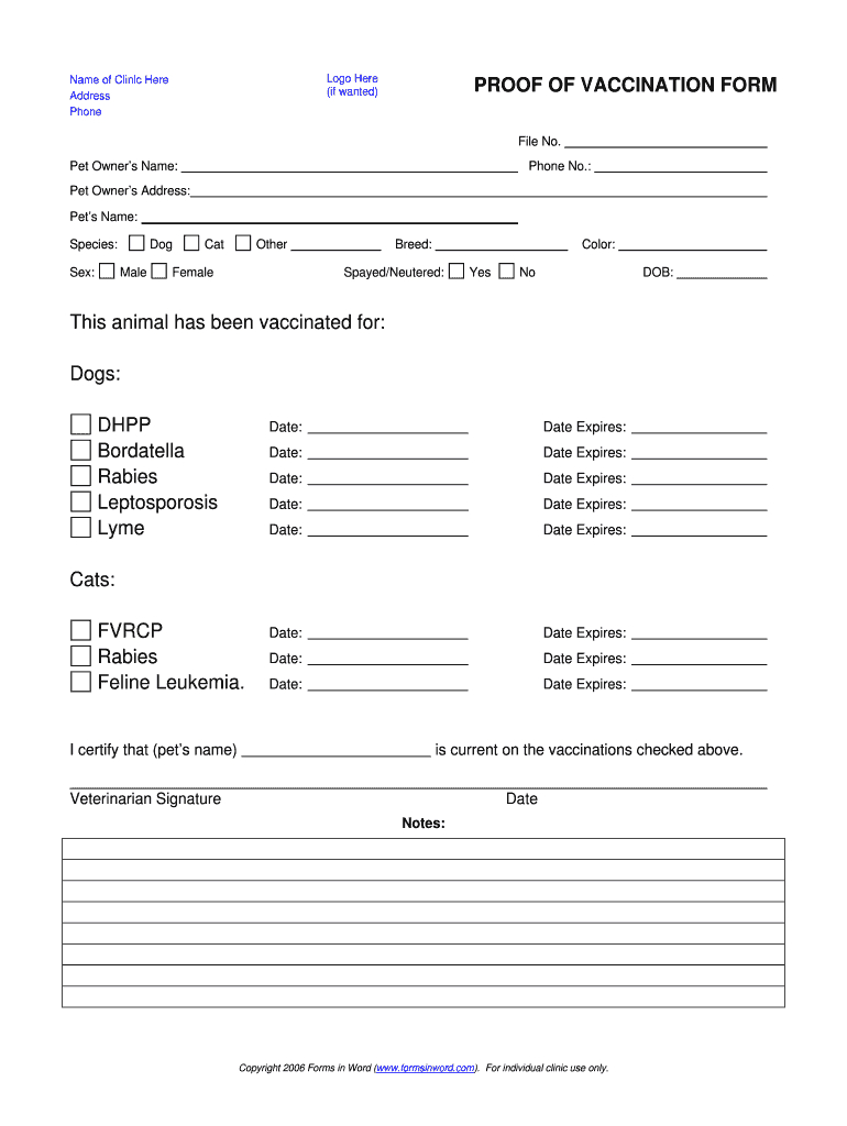 Dog Shot Record Template - Fill Online, Printable, Fillable With Dog Vaccination Certificate Template