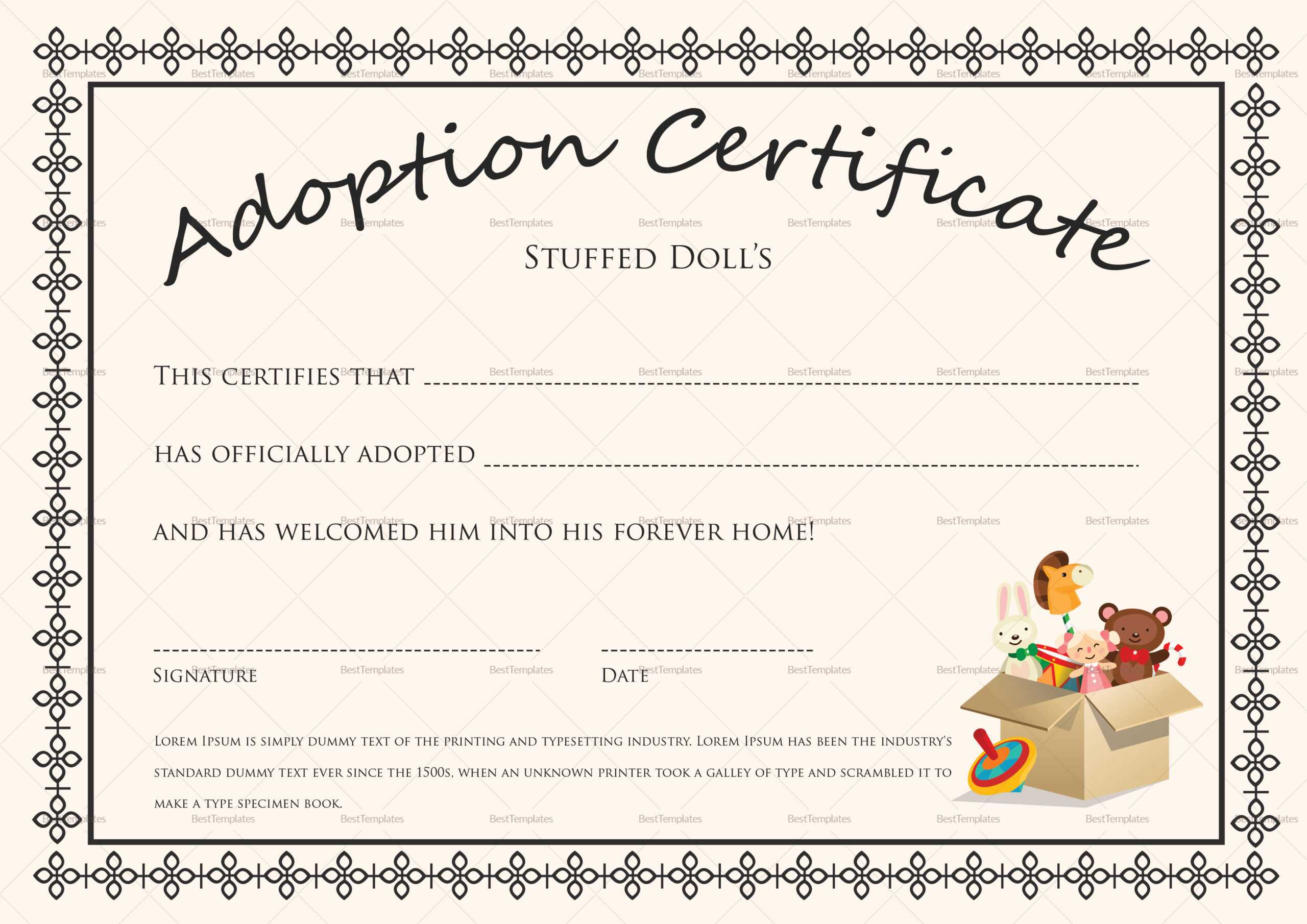 Doll Adoption Certificate Template In Blank Adoption Certificate Template
