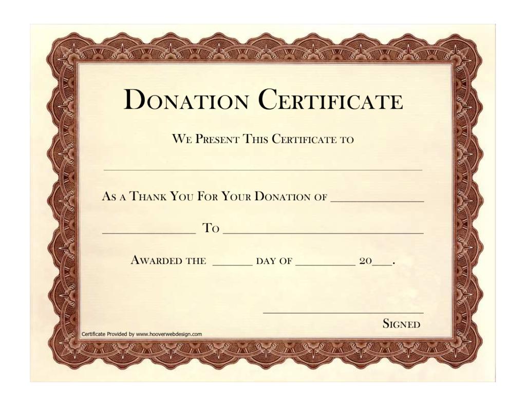 Donation Certificate Template | Certificate Templates Pertaining To Donation Certificate Template