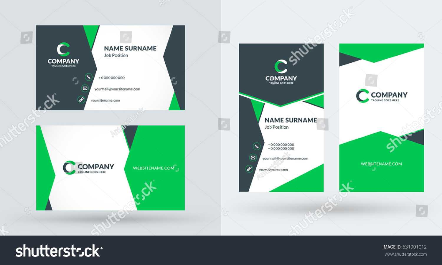 Doublesided Creative Business Card Template Portrait Stock Intended For Portrait Id Card Template