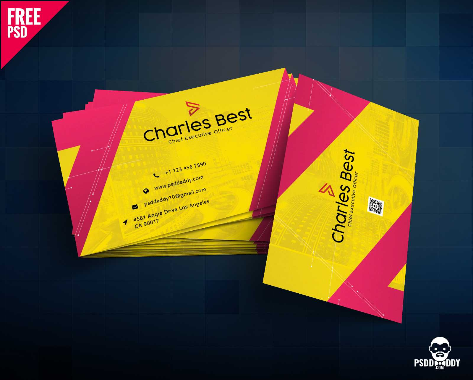 Download] Creative Business Card Free Psd   Psddaddy With Regard To Business Card Size Template Photoshop