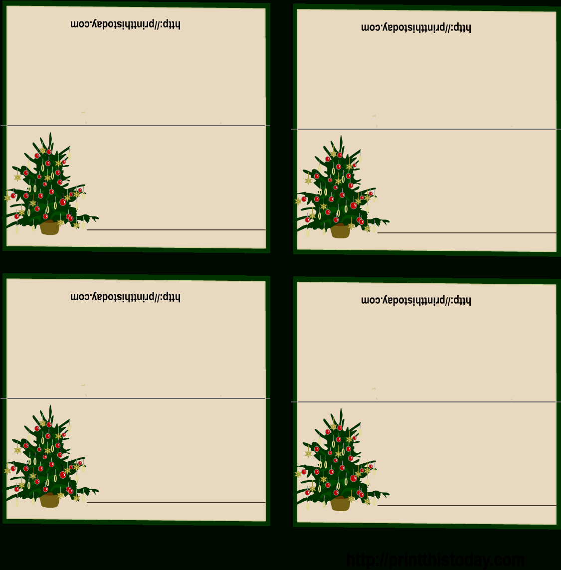 Download Free Printable Christmas Place Cards Regarding Regarding Free Place Card Templates Download
