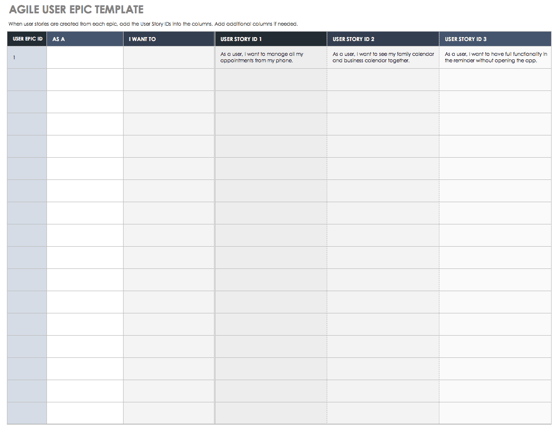 Download Free User Story Templates |Smartsheet For Agile Story Card Template