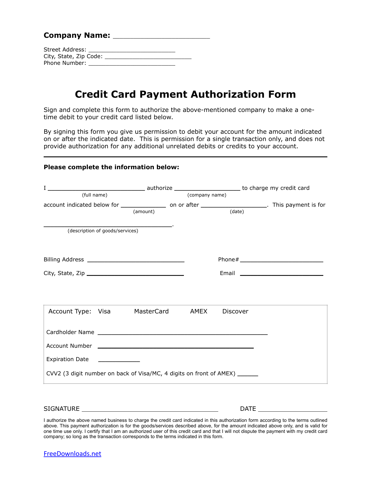 Download One (1) Time Credit Card Authorization Payment Form Throughout Credit Card Payment Form Template Pdf