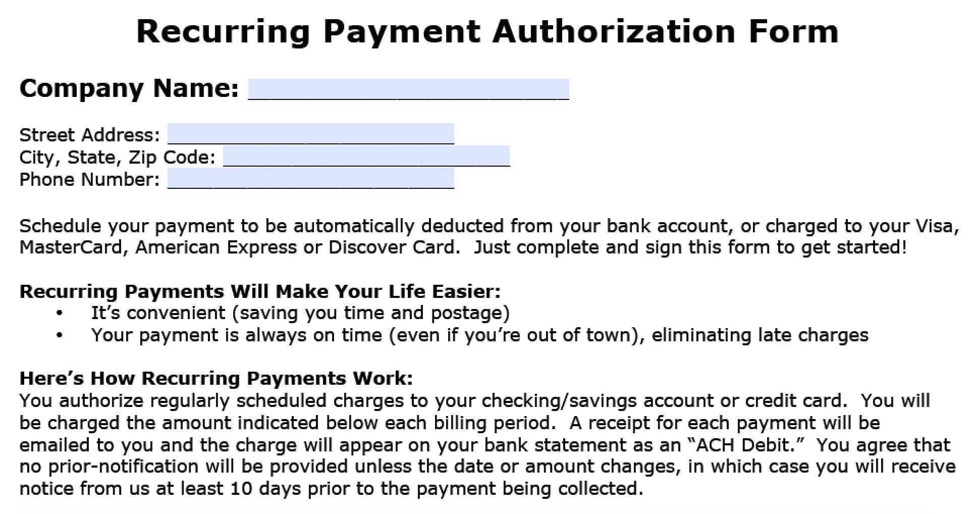 Download Recurring Payment Authorization Form Template Throughout Credit Card Billing Authorization Form Template