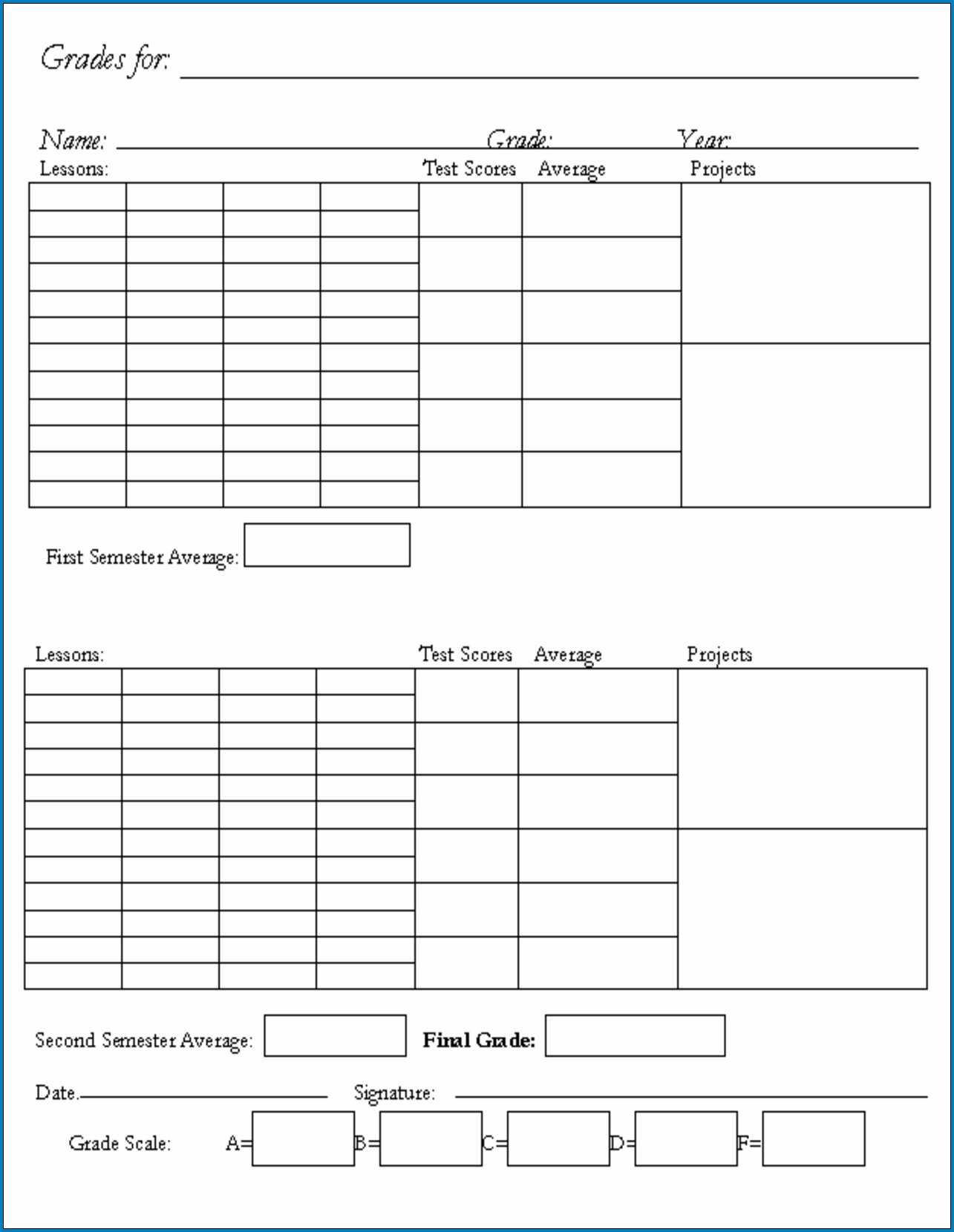 √ Free Printable Homeschool Report Card Template | Templateral Within Homeschool Middle School Report Card Template