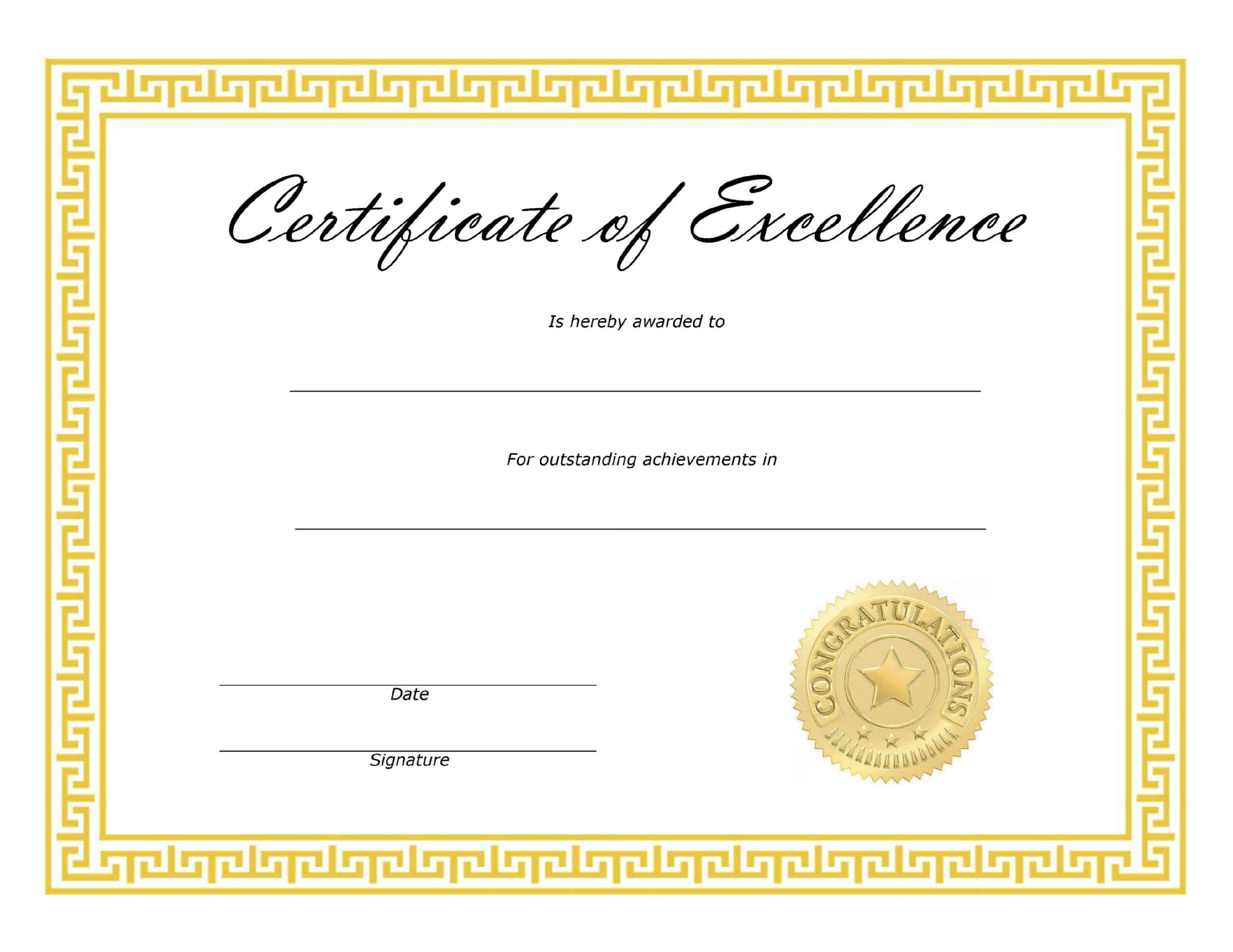 ❤️ Free Sample Certificate Of Excellence Templates❤️ Intended For Award Of Excellence Certificate Template