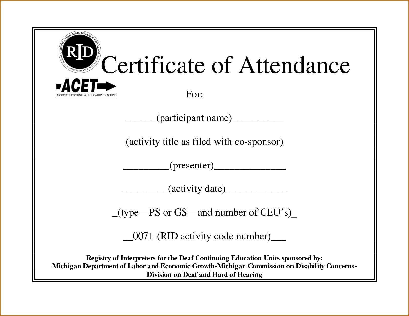 ❤️free Printable Certificate Of Attendance Sample Template With Regard To Attendance Certificate Template Word