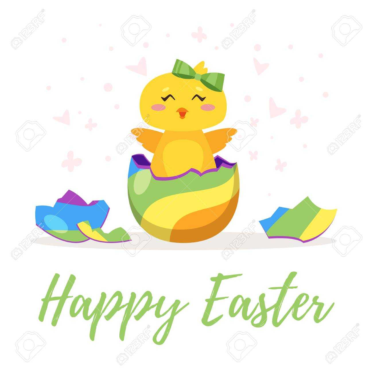 Easter Day Greeting Card Template With Cute Chick Hatched From.. Regarding Easter Chick Card Template