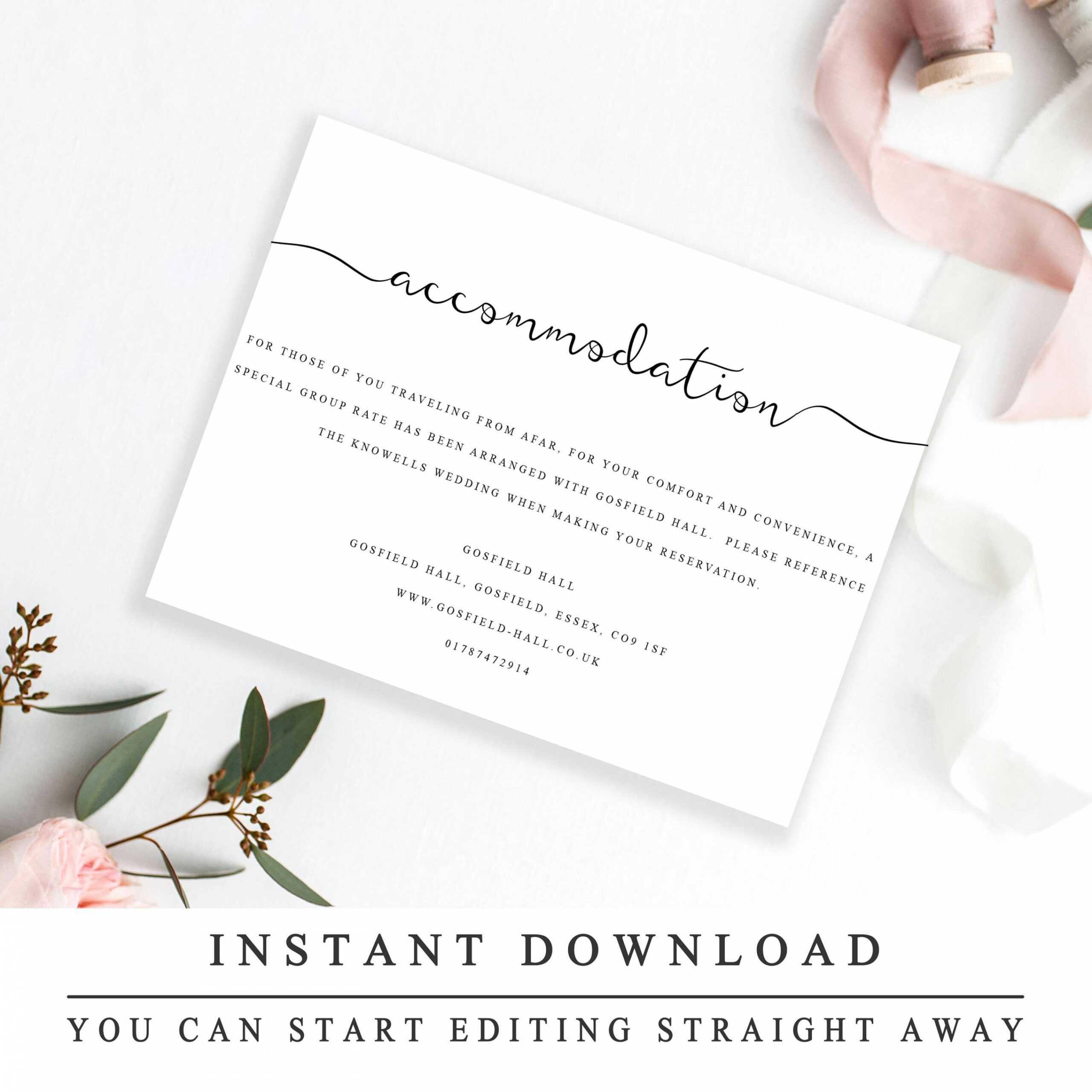 Editable Accommodations Card Insert Wedding Information Card Inside Wedding Hotel Information Card Template