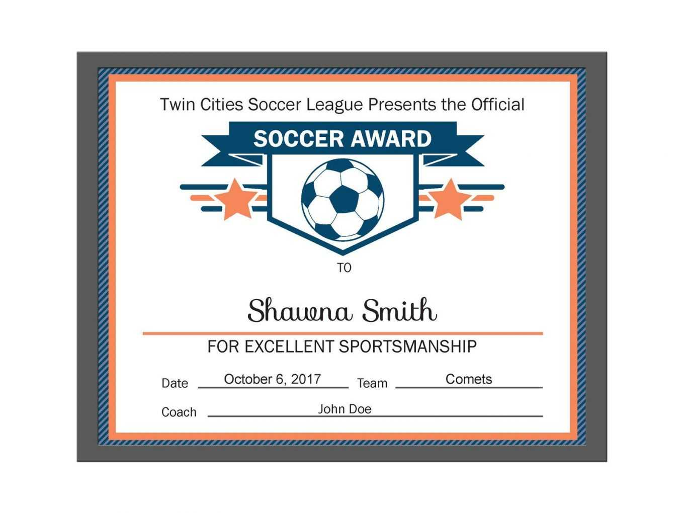 Editable Pdf Sports Team Soccer Certificate Award Template .. In Soccer Award Certificate Template