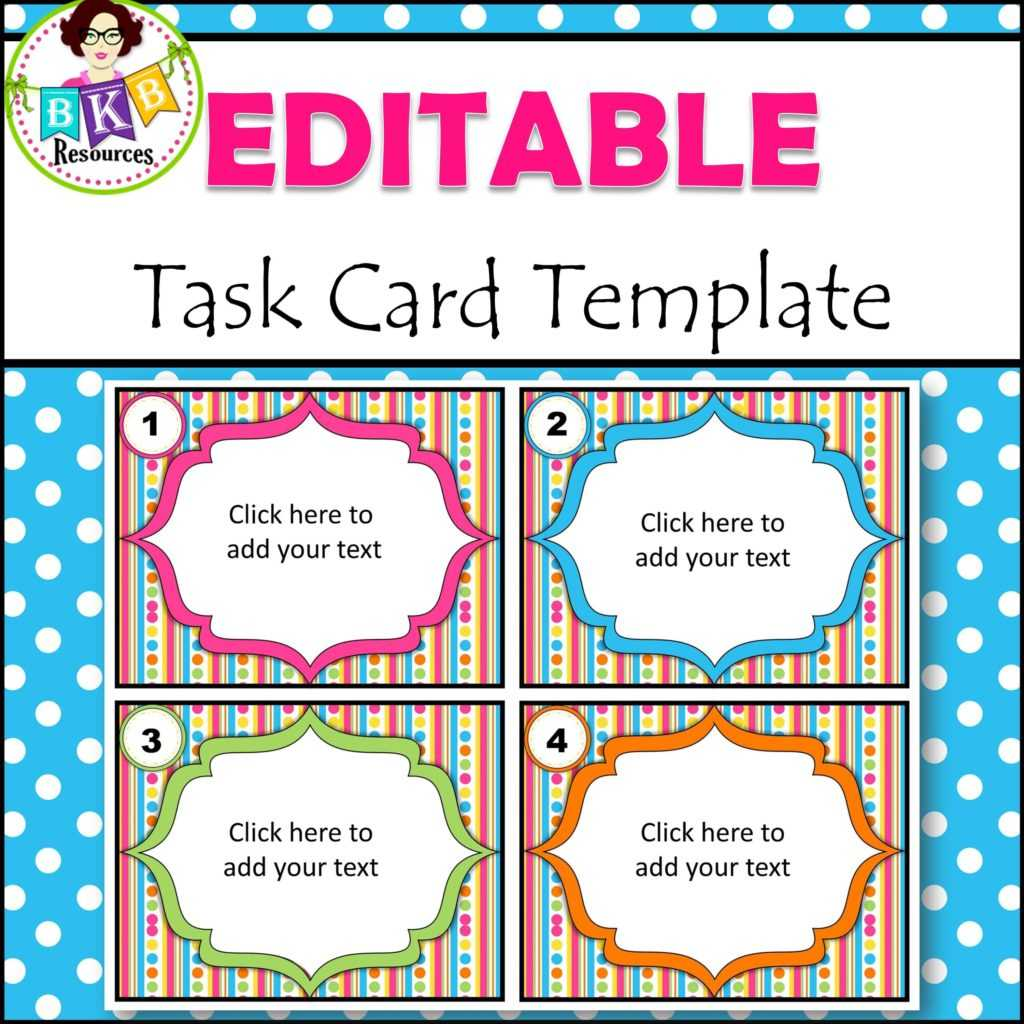 Editable Task Card Templates - Bkb Resources For Task Cards Template