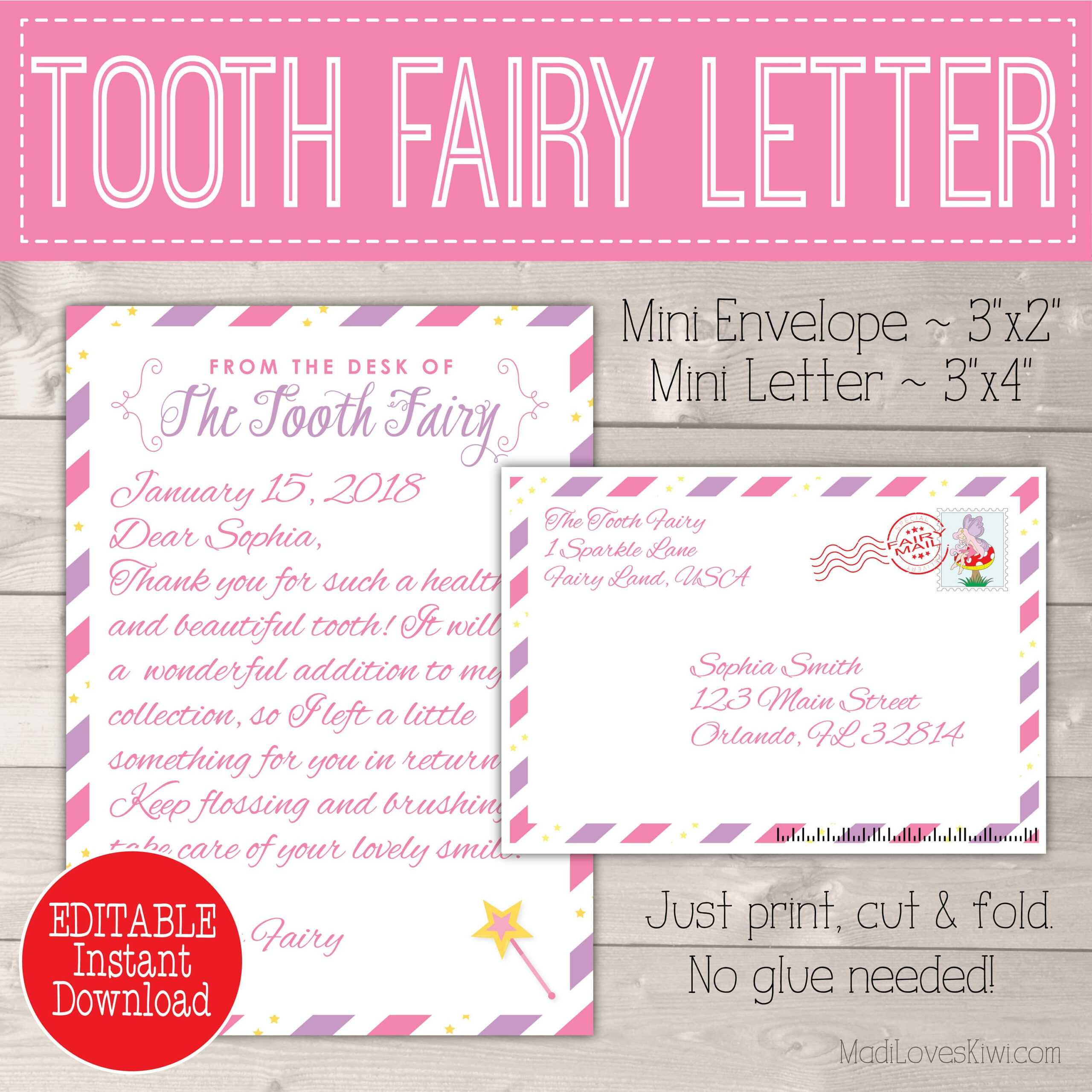Editable Tooth Fairy Letter With Envelope | Printable Pink With Regard To Tooth Fairy Certificate Template Free