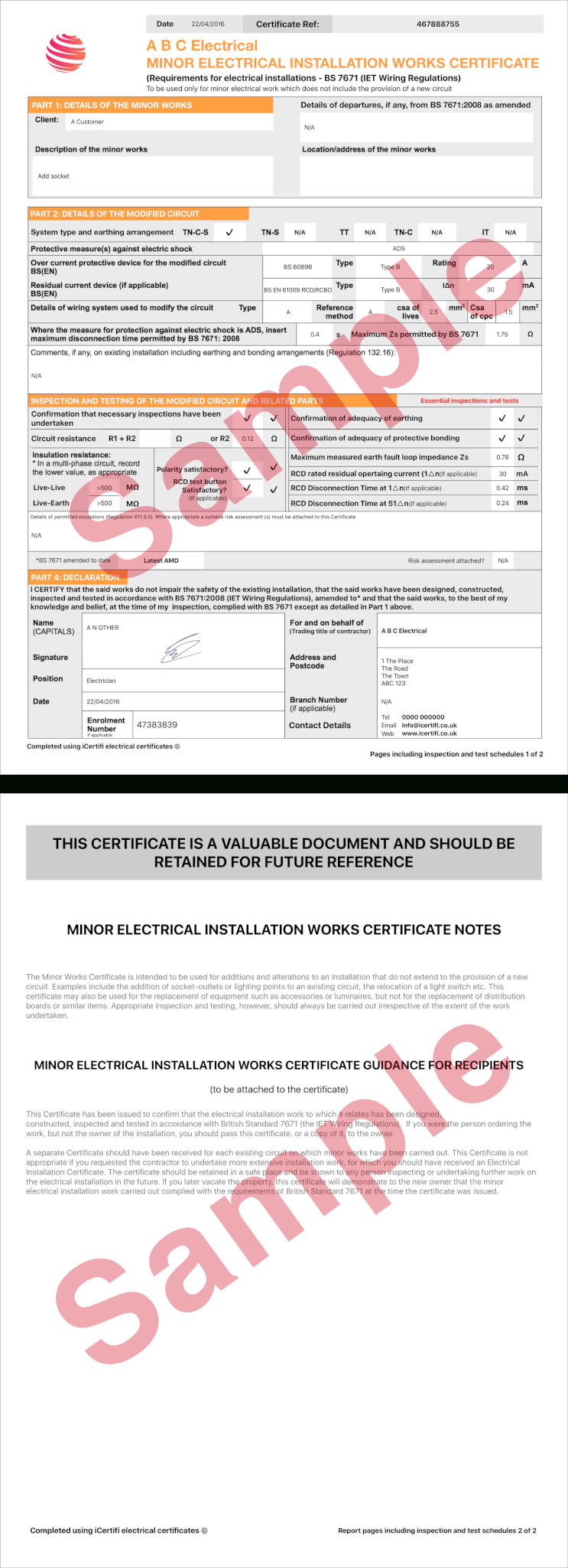Electrical Certificate - Example Minor Works Certificate Throughout Minor Electrical Installation Works Certificate Template
