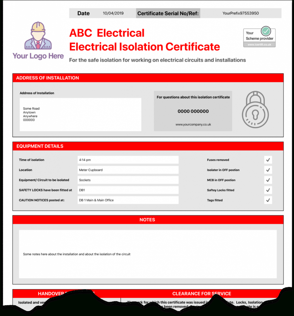 Electrical Isolation Certificate | Send Unlimited Inside Electrical Isolation Certificate Template