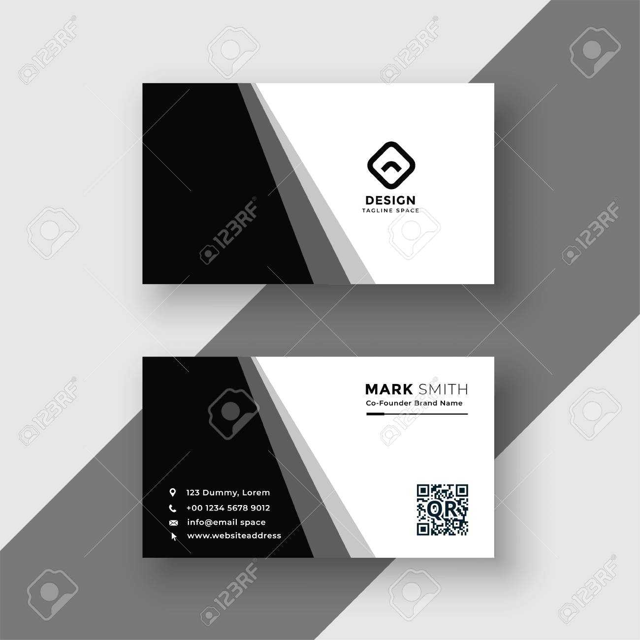 Elegant Black And White Business Card Template Throughout Black And White Business Cards Templates Free