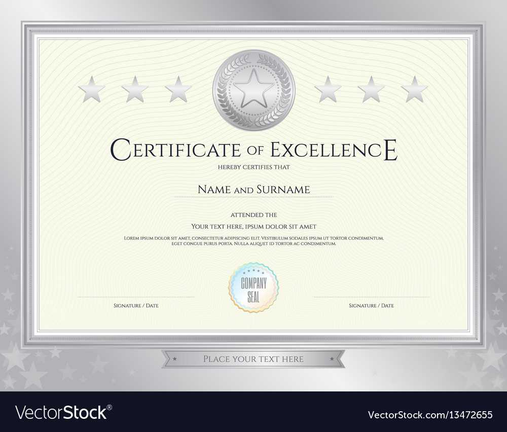 Elegant Certificate Template For Excellence Pertaining To Commemorative Certificate Template