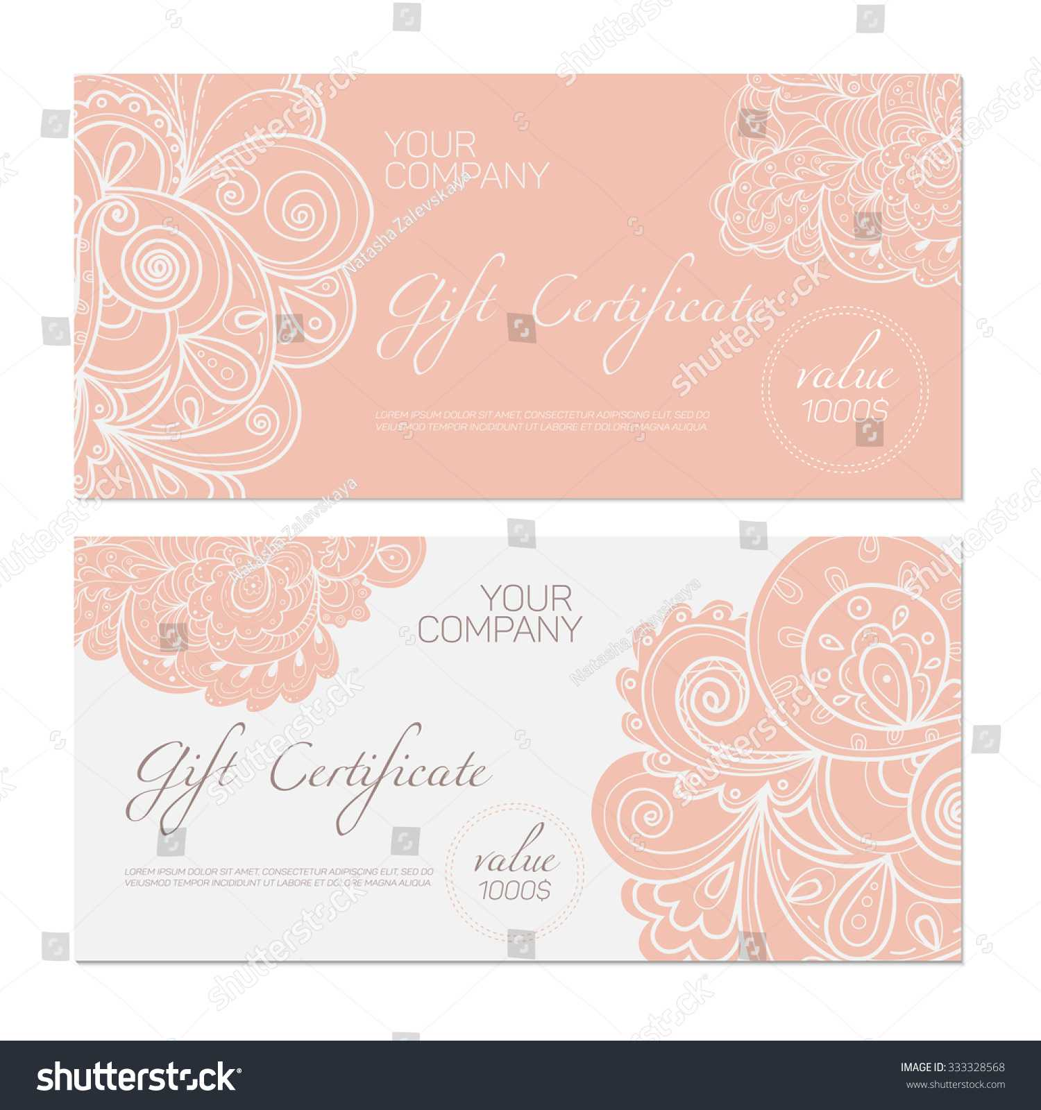 Elegant Gift Certificate Template Abstract Ornamental Throughout Elegant Gift Certificate Template