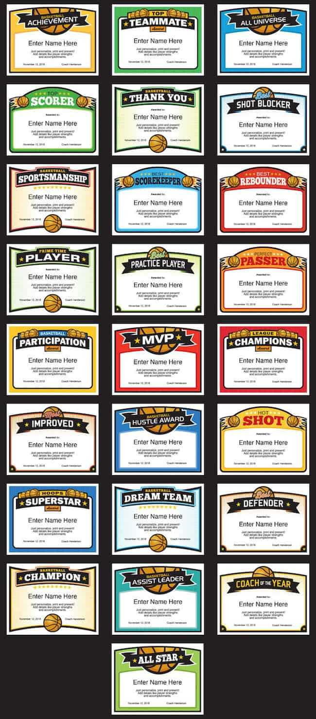 Elite Basketball Award Certificate Templates, Boys And Girls With Regard To Sports Award Certificate Template Word