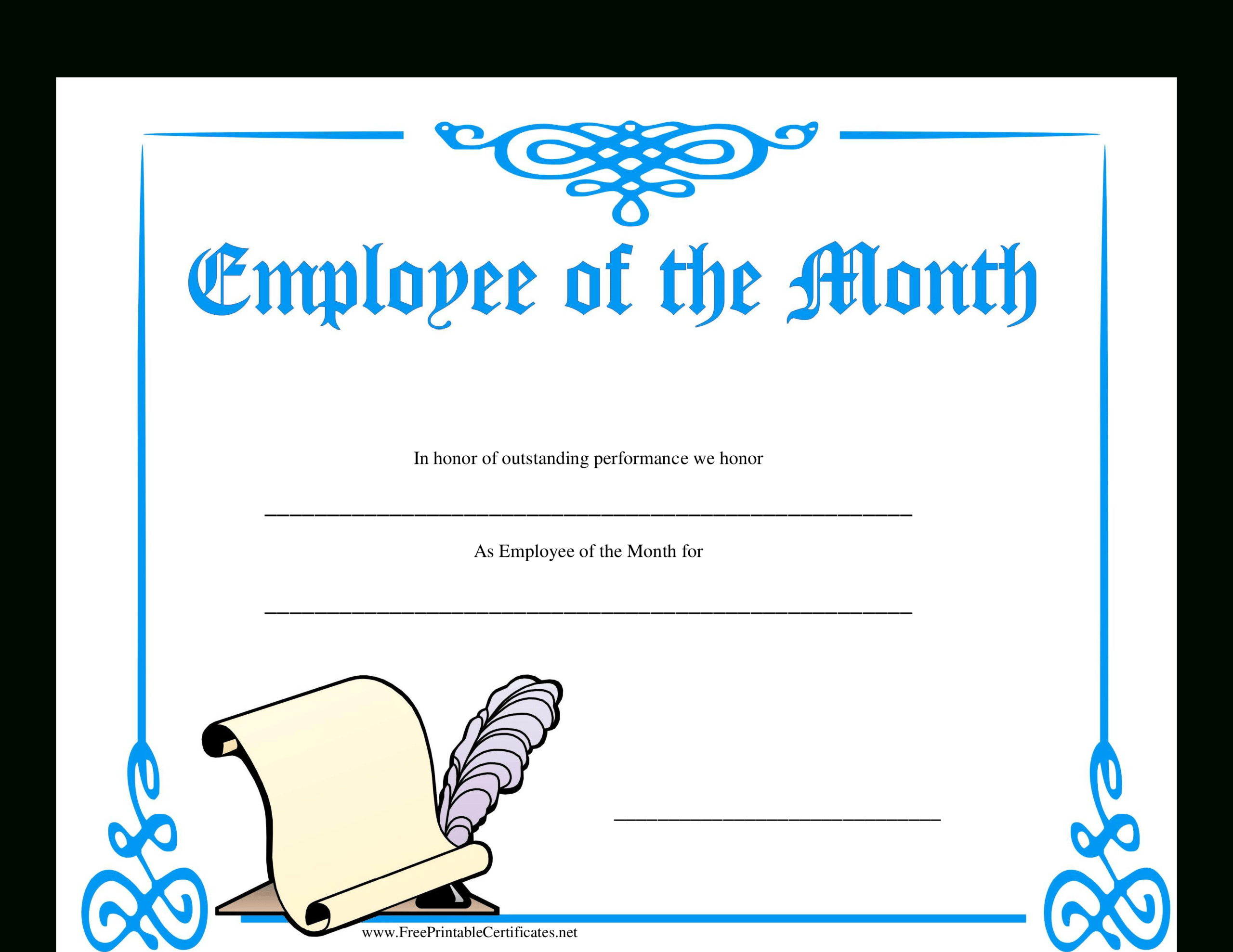 Employee Of The Month Certificate | Templates At For Employee Of The Month Certificate Template With Picture