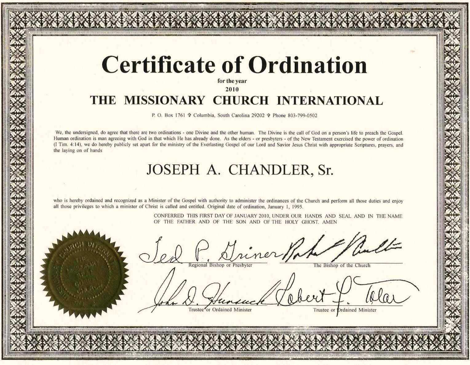 Exceptional Printable Ordination Certificate | Dan's Blog With Regard To Certificate Of Ordination Template