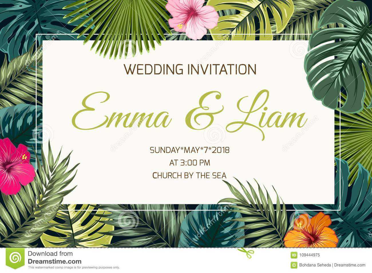 Exotic Tropical Jungle Wedding Event Invitation Stock Vector For Event Invitation Card Template
