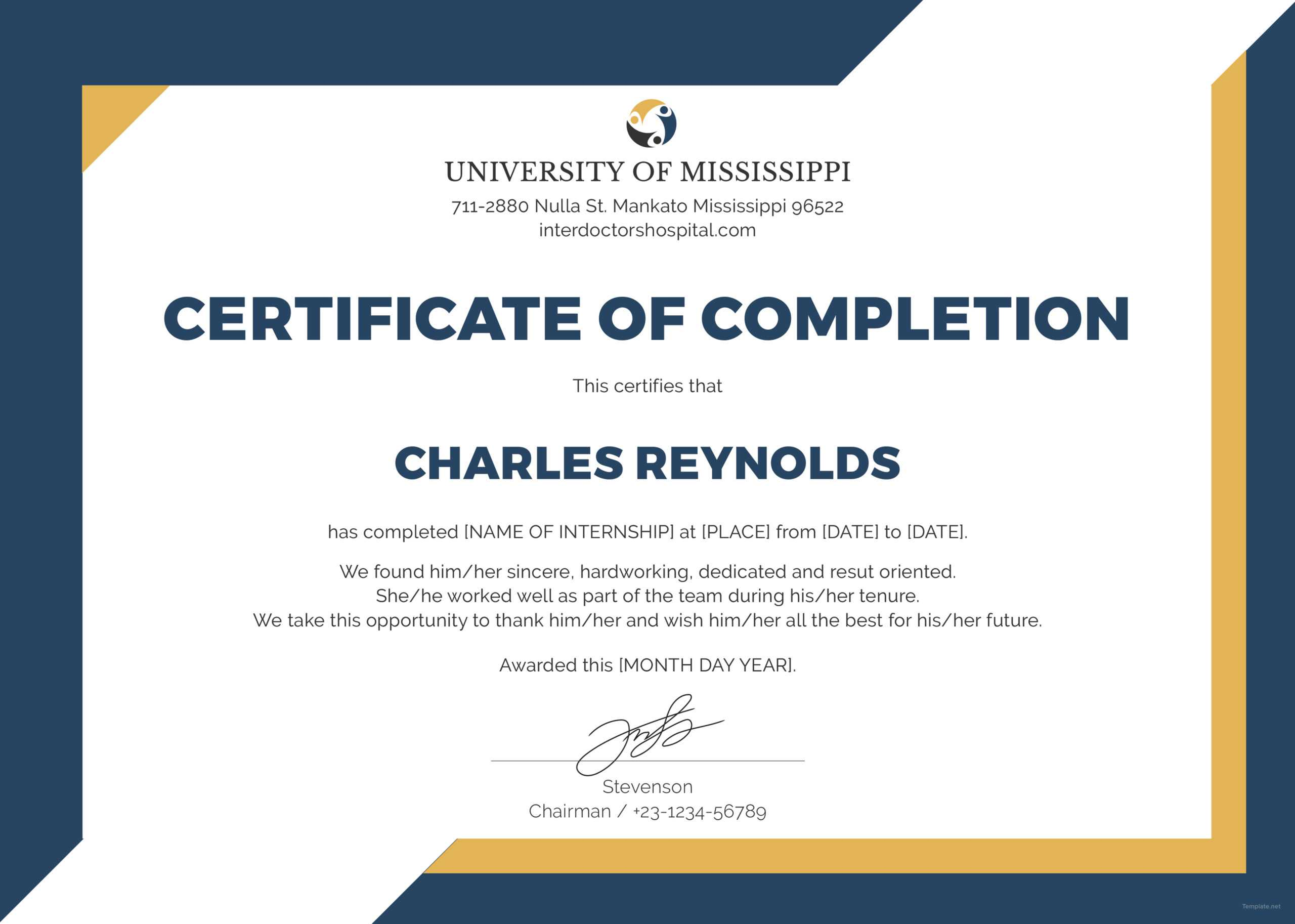 🥰free Certificate Of Completion Template Sample With Example🥰 Throughout Certificate Of Completion Template Construction