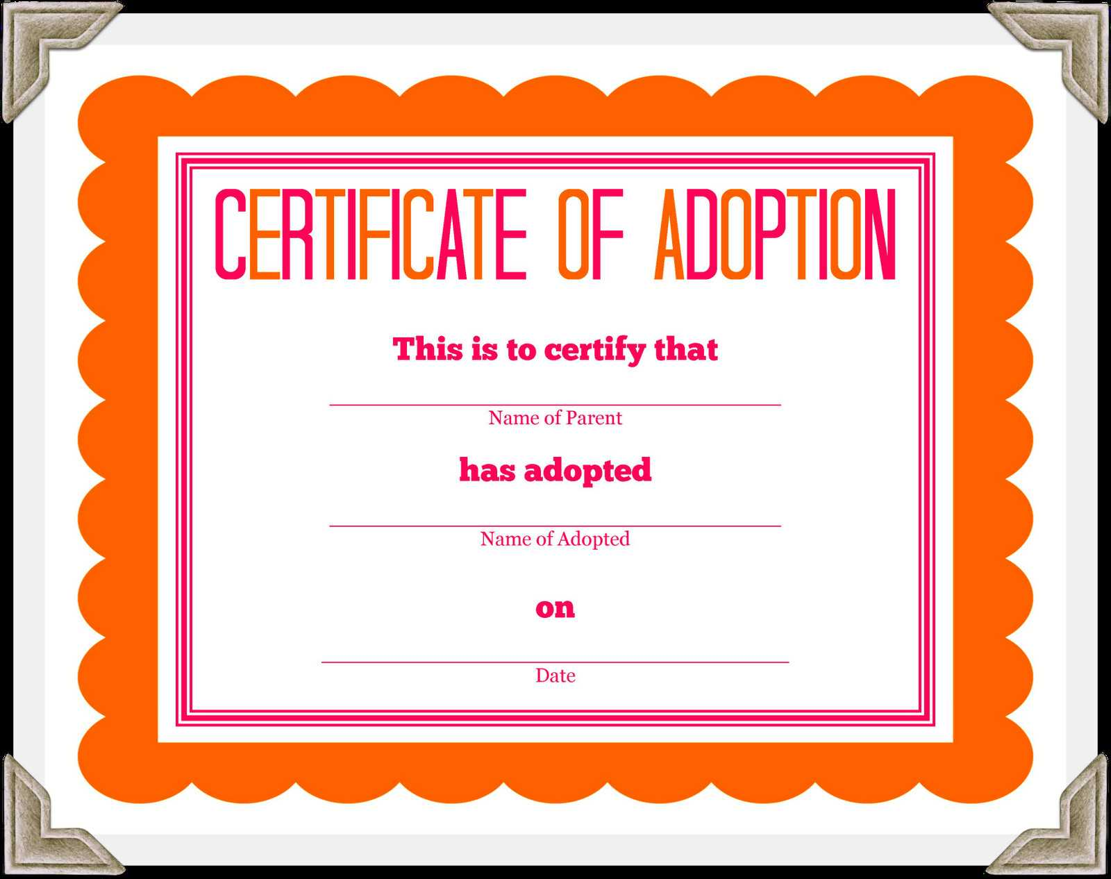🥰free Printable Sample Certificate Of Adoption Template🥰 Intended For Child Adoption Certificate Template