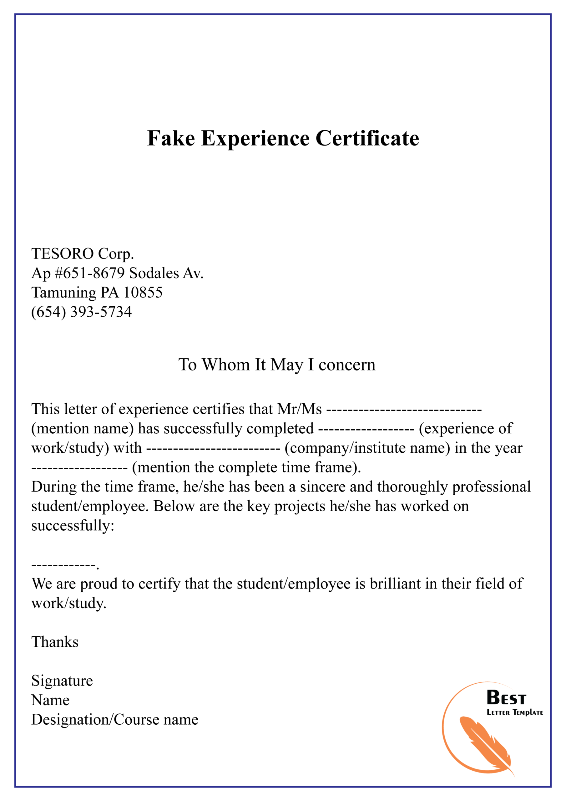 Fake Experience Certificate 01 | Best Letter Template Pertaining To Template Of Experience Certificate