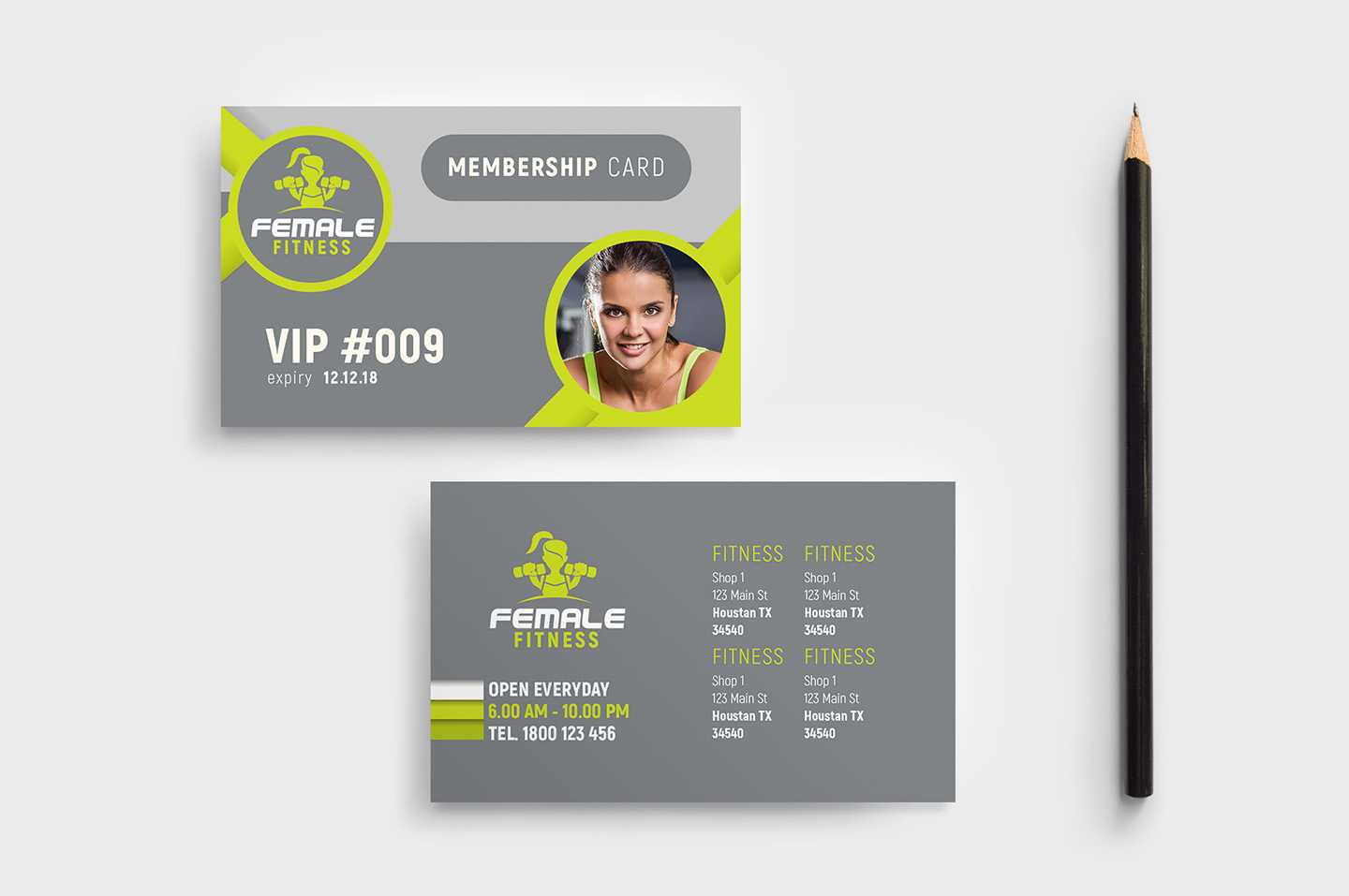 Female Fitness Membership Card Template In Psd, Ai With Template For Membership Cards