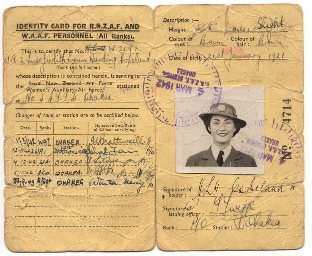 File:waaf Rnzaf 1921 - Wikimedia Commons With World War 2 Identity Card Template