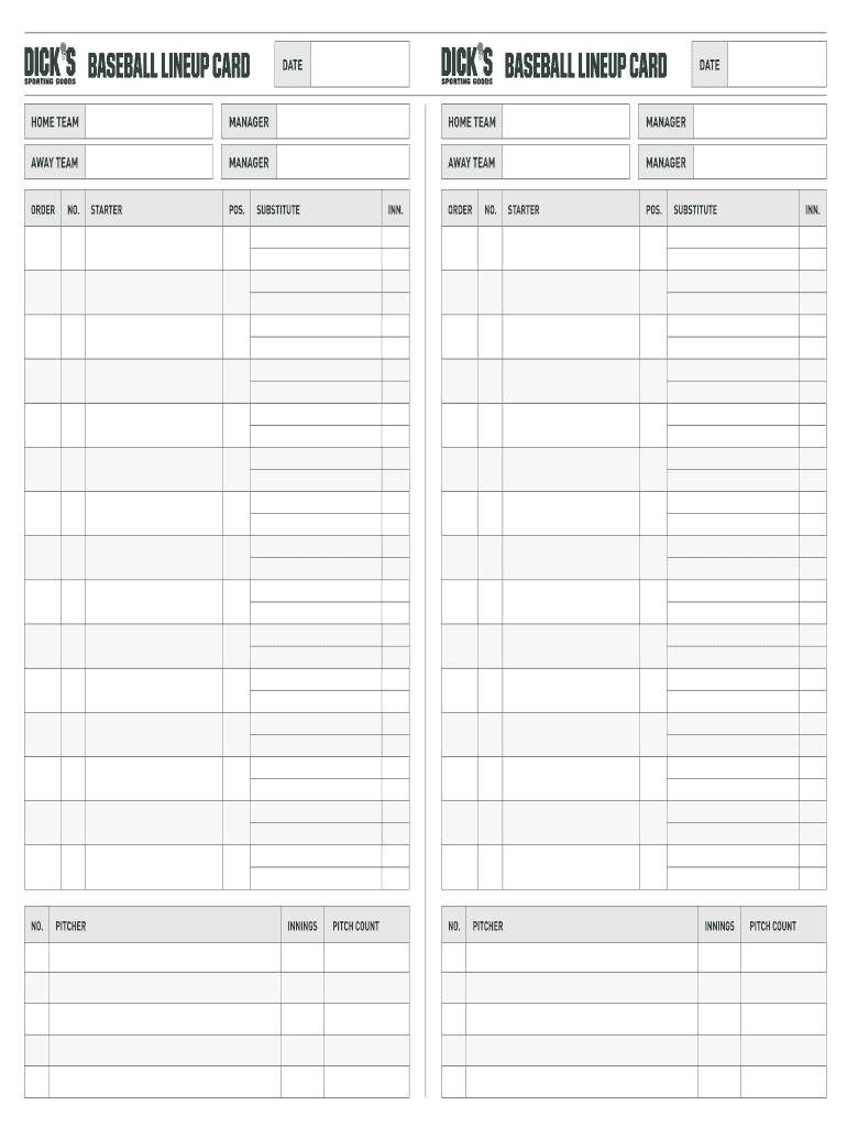 Fillable Online Baseball Lineup Card Baseball Lineup Card For Softball Lineup Card Template