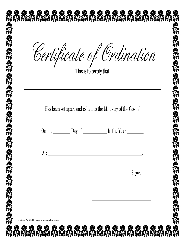 Fillable Online Printable Certificate Of Ordination With Regard To Ordination Certificate Templates