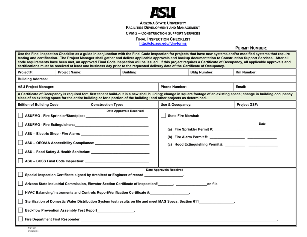 Final Inspection Checklist Regarding Certificate Of Inspection Template
