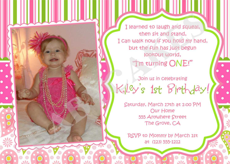 First Birthday Invitation Wording Ideas – Bagvania Inside First Birthday Invitation Card Template