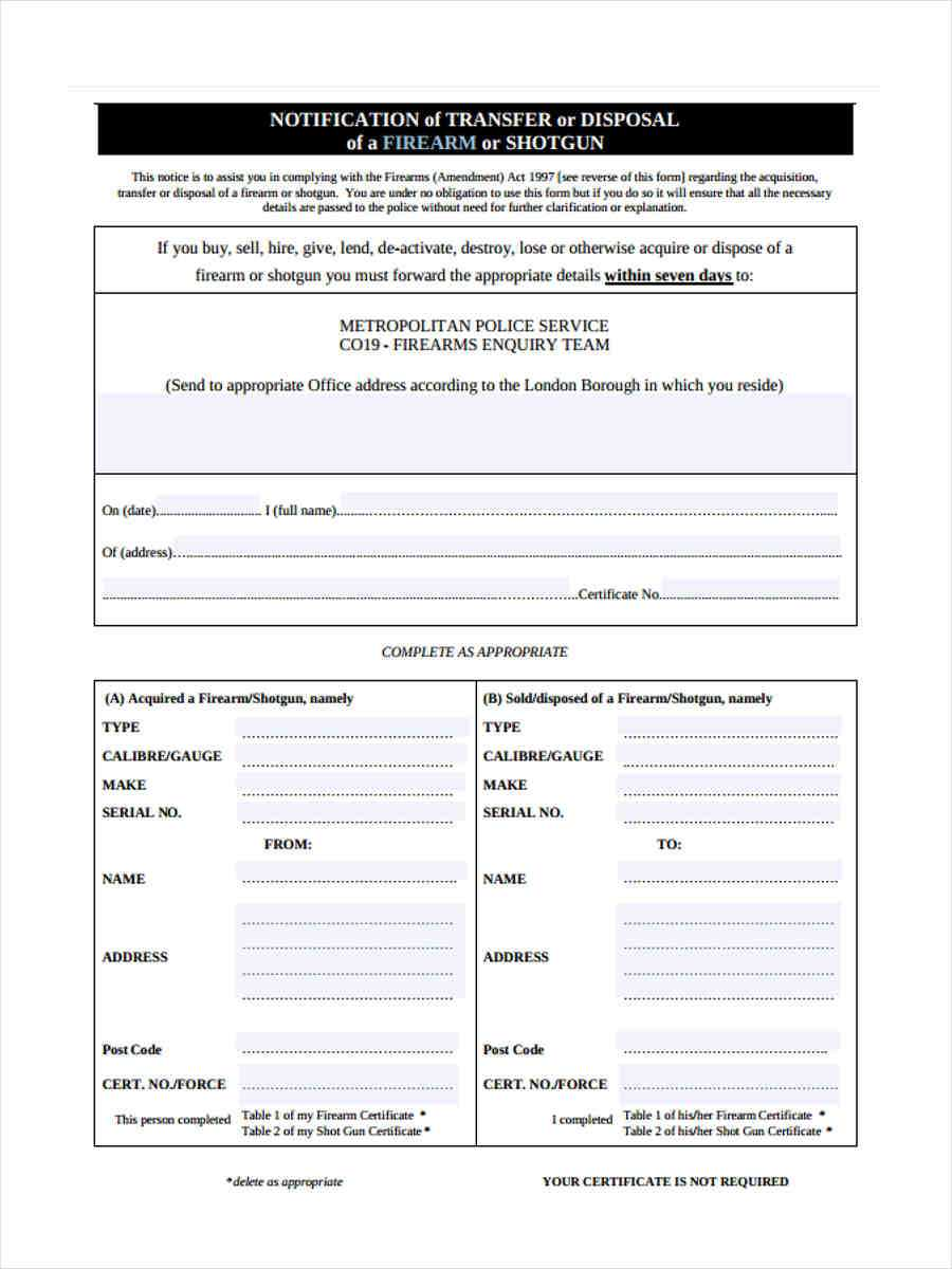 Free 5+ Notice Of Disposal Forms In Ms Word | Pdf Regarding Certificate Of Disposal Template