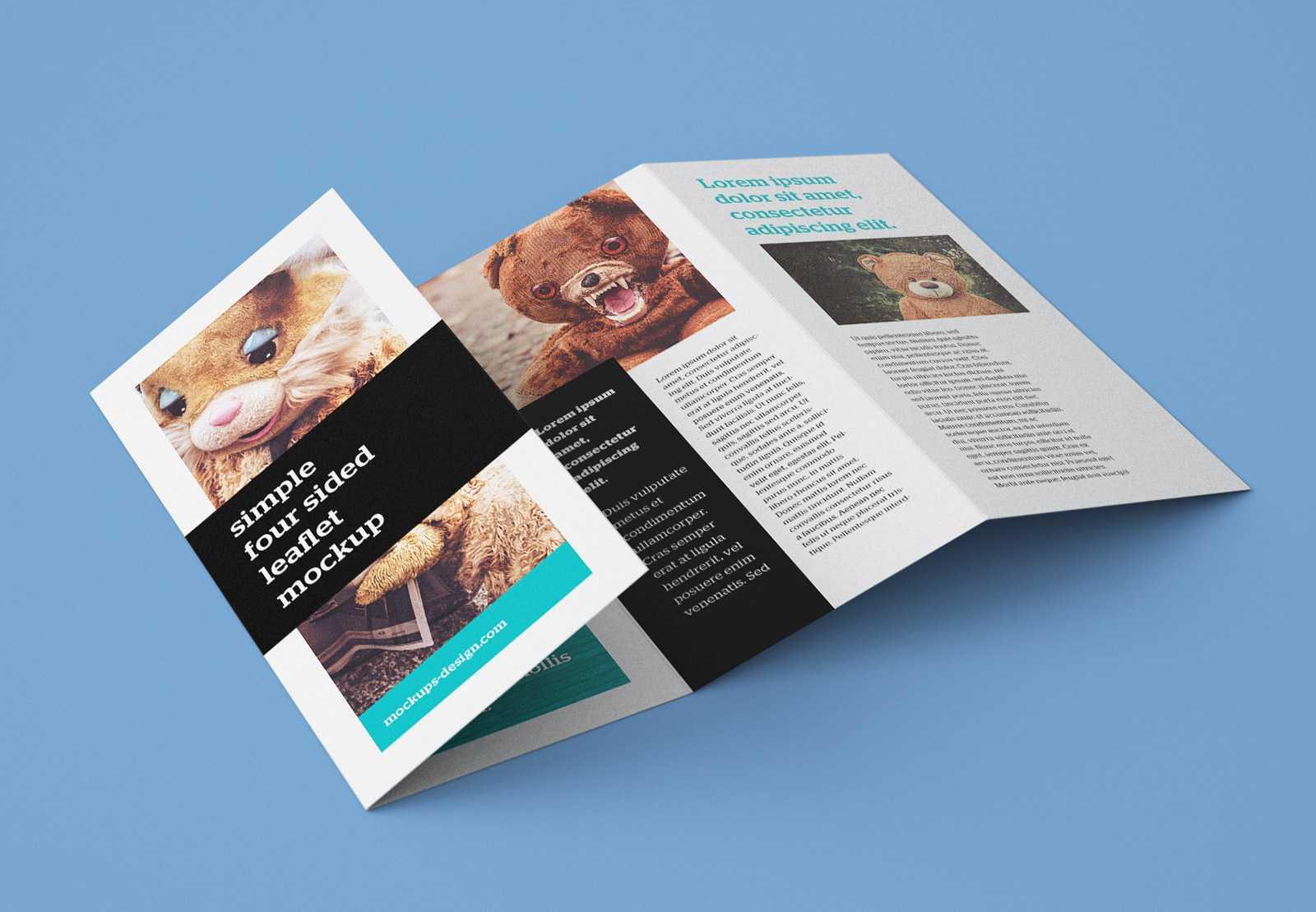 Free Accordion 4 Fold Brochure Leaflet Mockup Psd Templates Throughout 2 Fold Brochure Template Psd