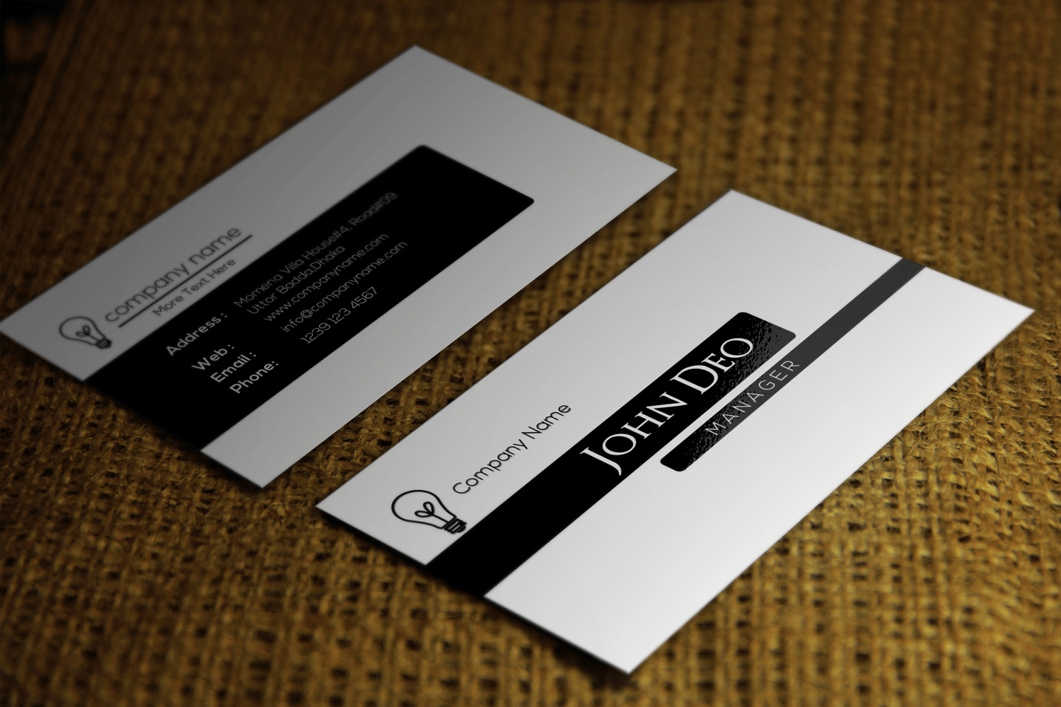 Free Black And White Business Card Template Pertaining To Call Card Templates