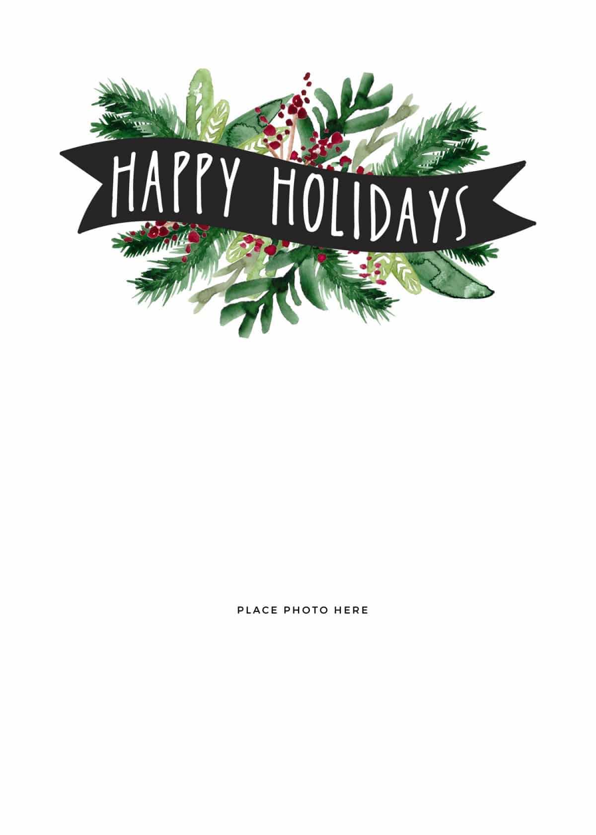 Free Christmas Cards Printables – Colona.rsd7 Throughout Printable Holiday Card Templates